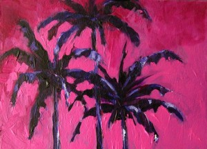 Painting: Three Palm Trees with Magenta Skies