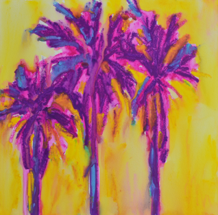 Three Magenta Palm Trees