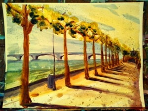 Paintings: Watercolor, Rhine River –Mainz