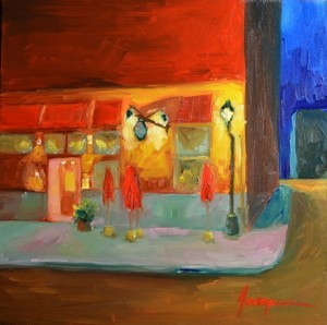 Painting: Cafe at Night in Old Town Canada