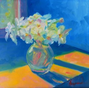 Painting: Primroses in Spring Light