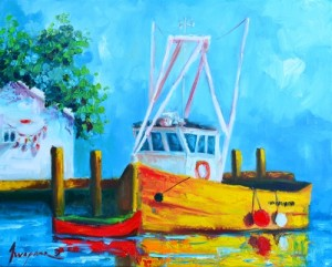 Pier with a fishing boat buoys landscape and scenic painting