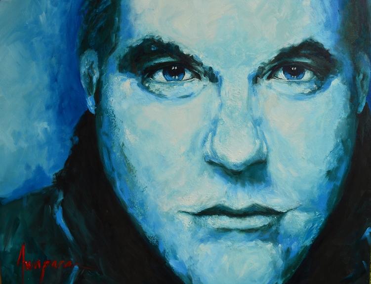 Portrait under blue light realistic peaceful zen image face closeup beautiful man expression